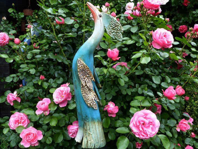 Paradiesvogel türkis mit Flügeln
